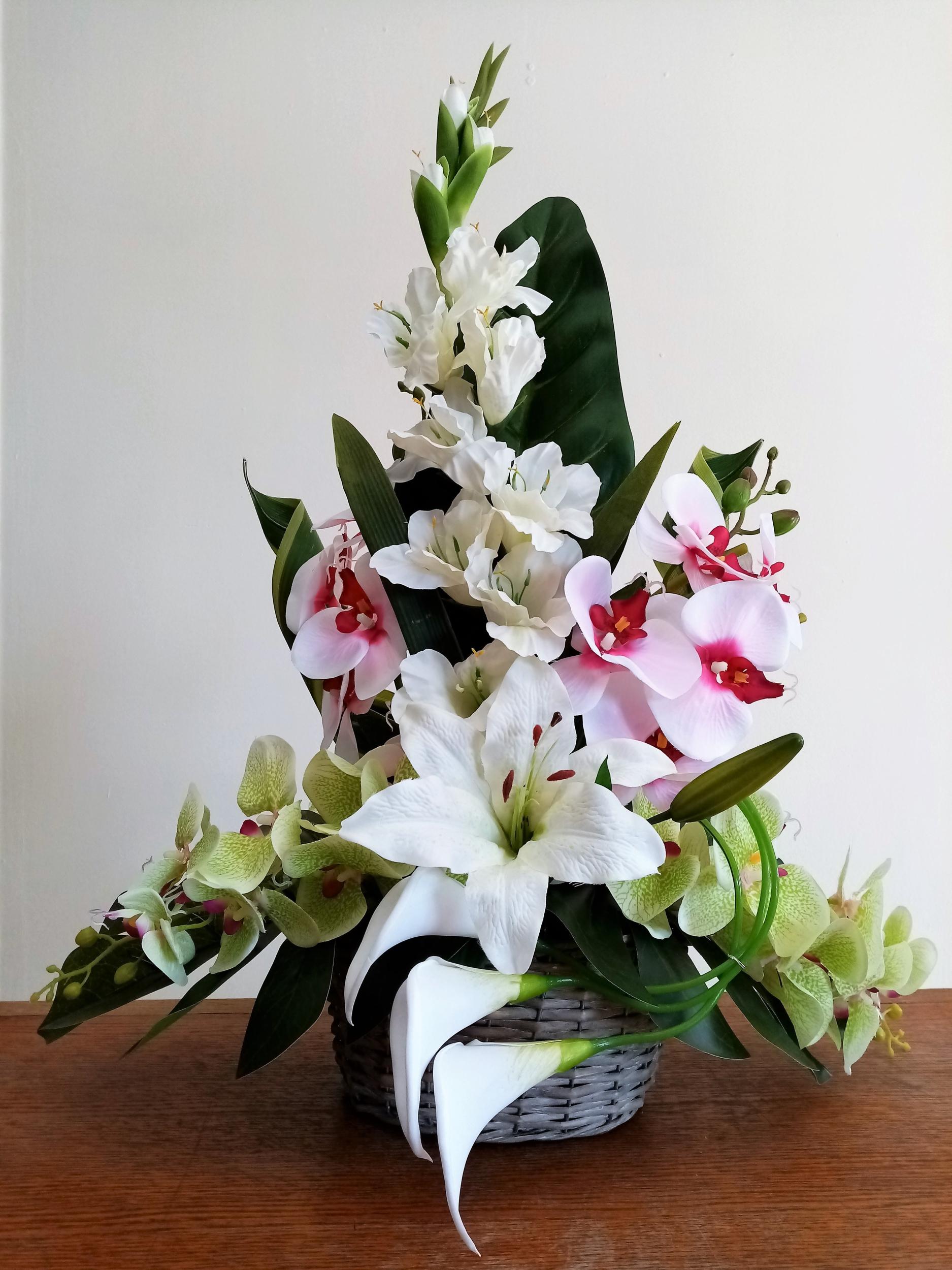 Composition florale Orchidée Lys mariage fleurs artificielles