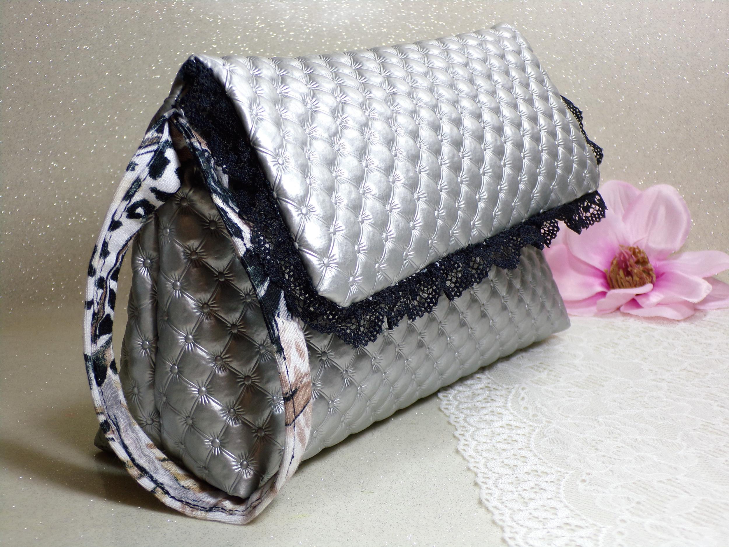 Pochette simili cuir argent dentelle léopard noir