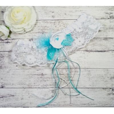 Jarretière de mariée papillon turquoise blanc
