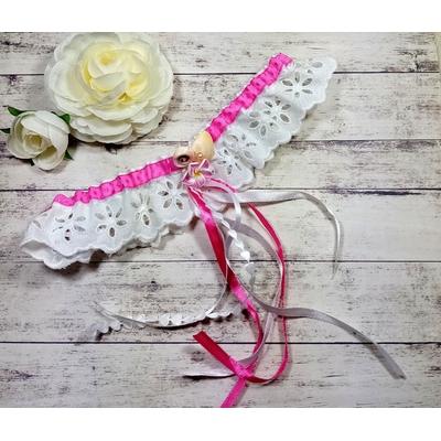 Jarretière de mariage coquillage fleur tiaré