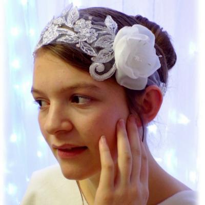 Headband mariée dentelle fleur