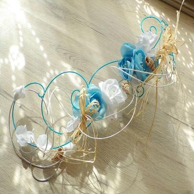 Bouquet de mariée cascade fil aluminium coquillages