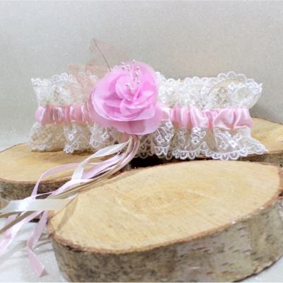 Jarretière de mariée dentelle ivoire et rose mariage romantique