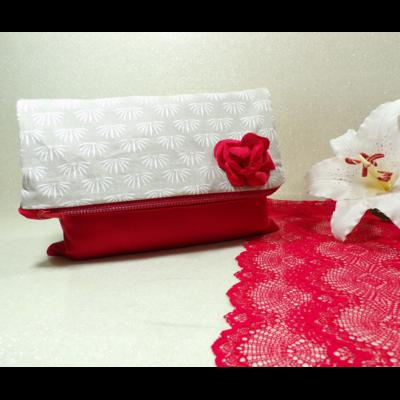 Grande trousse pochette pliée xxl satin rouge fait main