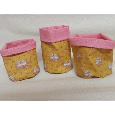 Corbeille tissu rangement chambre bébé rose