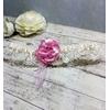Jarretière de mariée romantique dentelle ivoire rose