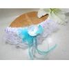 Jarretière mariage papillon dentelle plues turquoise blanc