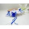Jarretière mariage bleu roi dentelle plumes papillon personnalisé