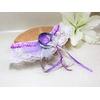 jarretière mariage mauve gris blanc dentelle plumes papillon