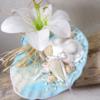 porte alliances coquillages lys mariage bleu turquoise blanc
