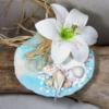 porte alliances coquillage mariage fleur turquoise