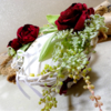 porte alliances panier de fleurs mariage fait main