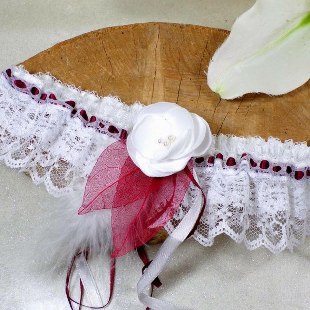 jarretière mariée dentelle plume personnalisée