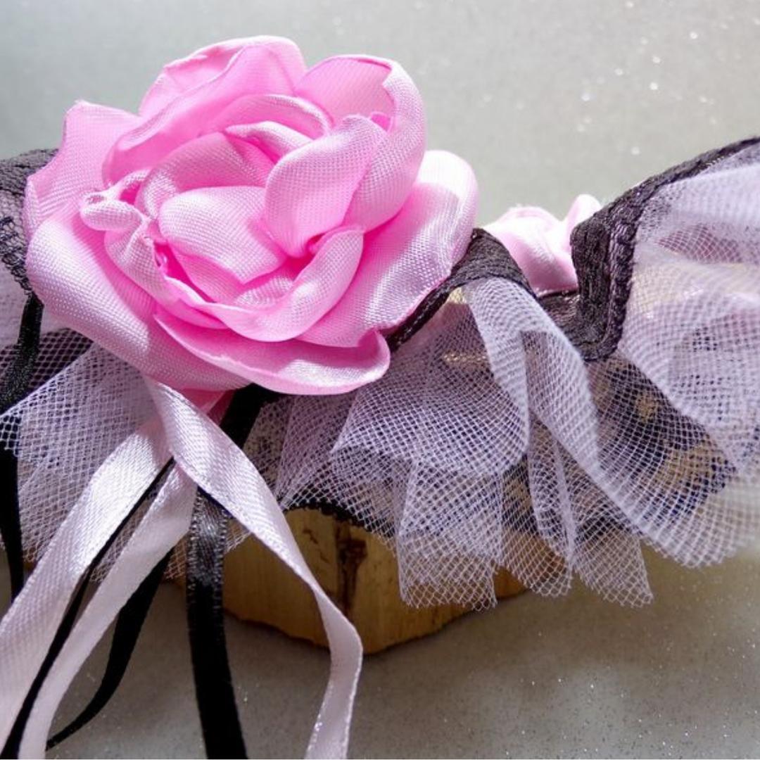 jarretière mariage rose chocolat dentelle personnalisée