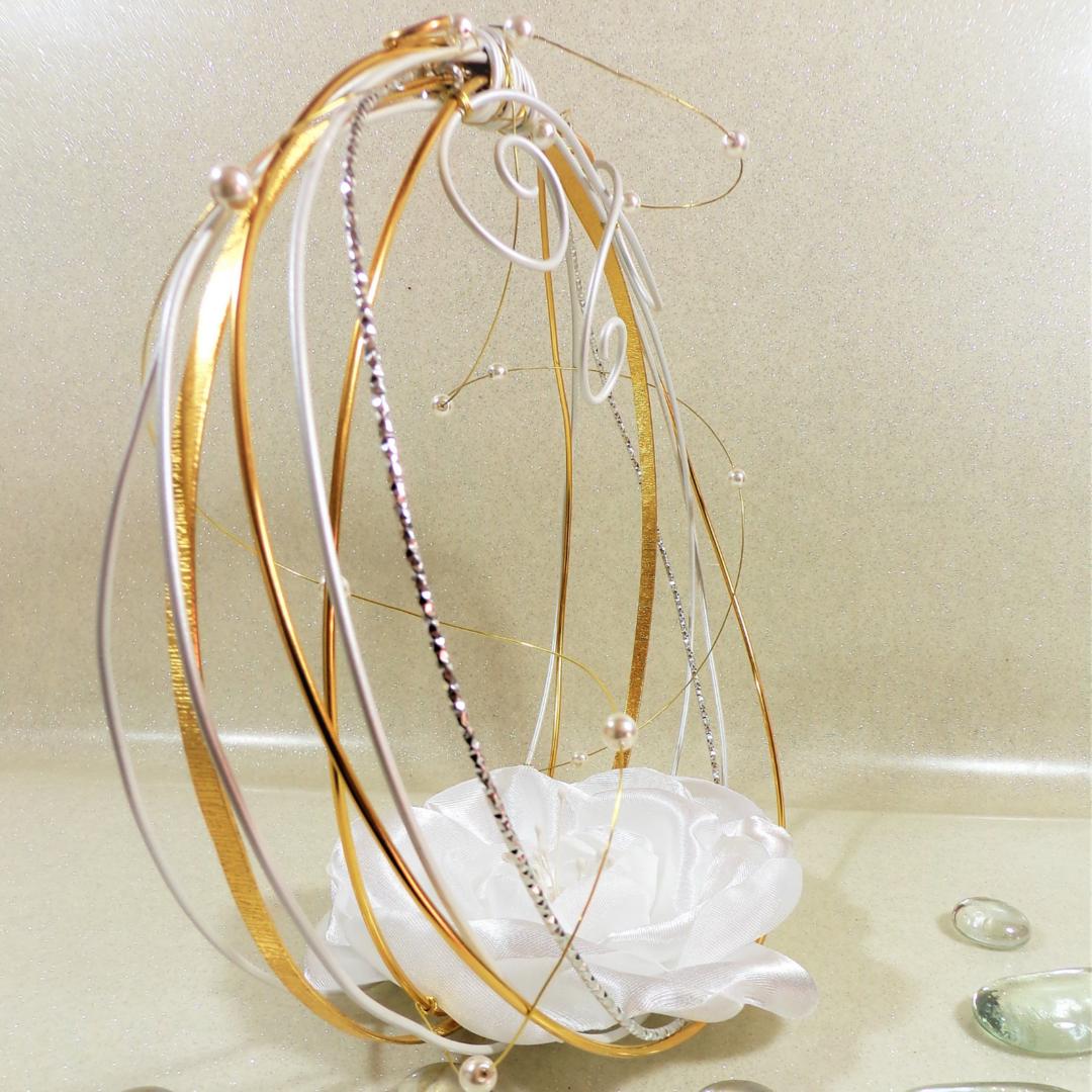 porte alliance mariage doré fleur original personnalisé
