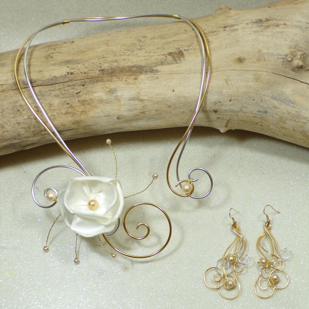parure de bijoux personnalisée collier boucles d'oreilles mariage fête cérémonie