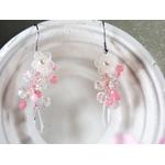 boucles doreilles perles mariage fleurs rose blanc