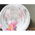 boucle oreille fleurs mariage perles rose blanc