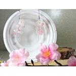 boucles d'oreilles fleurs perles mariage fait main rose blanc