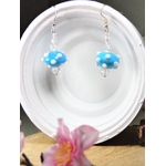 boucles doreille perles bleu blanc
