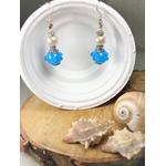 boucles oreilles perles bleu blanc artisanal