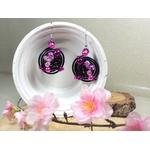 boucles oreilles fantaisie fleurs perles noir fuchsia fait main