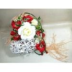 Porte alliances coeur mariage champetre rouge et blanc