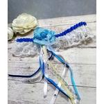 Jarretière mariée bleue coquillage dentelle satin fait main
