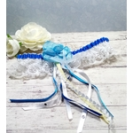 Jarretière de mariée dentelle coquillage blanc bleu fait main