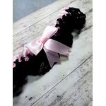 Jarretière dentelle satin rose et noir fait main personnalisée