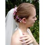 Bijou cheveux mariage rose Swarovski fleurs