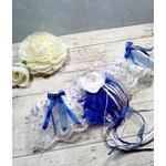 Accessoire de mariée fait main mariage bleu roi et blanc personnalisé