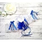 Jarretière de mariée plume et dentelle fait main bleu royal et blanc