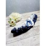 Accessoire de mariée fait main mariage rétro rockabilly bleu marine dentelle satin