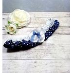 Jarretière de mariée satin bleu marine à pois blanc dentelle mariage
