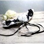 Accessoire de mariée fait main mariage noir et blanc fait main