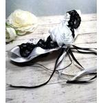 Jarretière de mariée satin noir et blanc faite main