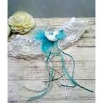 Jarretière de mariée dentelle plumes turquoise et blanc faite main