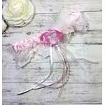 Jarretière mariage romantique rose dentelle fait main