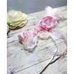 Jarretière de mariée romantique dentelle rose fait main