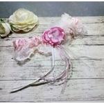Jarretière de mariée dentelle plumes rose
