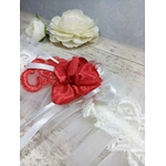 Accessoire mariage fait main rouge blanc dentelle