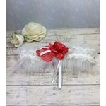 Jarretière mariage romantique rouge blanc fait main