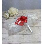Jarretière de mariée dentelle rouge et blanc fait main mariage romantique