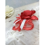 Jarretière dentelle rouge blanc tulle mariage