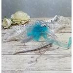 Jarretière de mariée plume dentelle turquoise blanc mariage