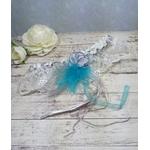Jarretière de mariage personnalisé dentelle plumes turquoise