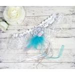 Jarretière de mariée dentelle plumes turquoise blanc mariage personnalisé fait main
