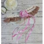 Jarretière de mariée dentelle plumes ivoire rose mariage