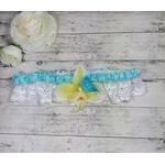 Jarretière mariée romantique dentelle turquoise papillon Orchidées